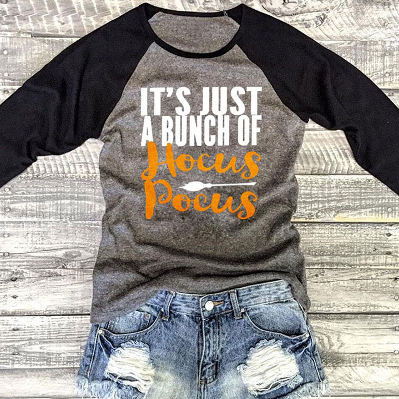 Women Gray  Halloween T-Shirt Letter PrintO Neck Three Quarter Raglan Sleeve T Shirt Autumn Casual Top Female T Shirt Tops Tee