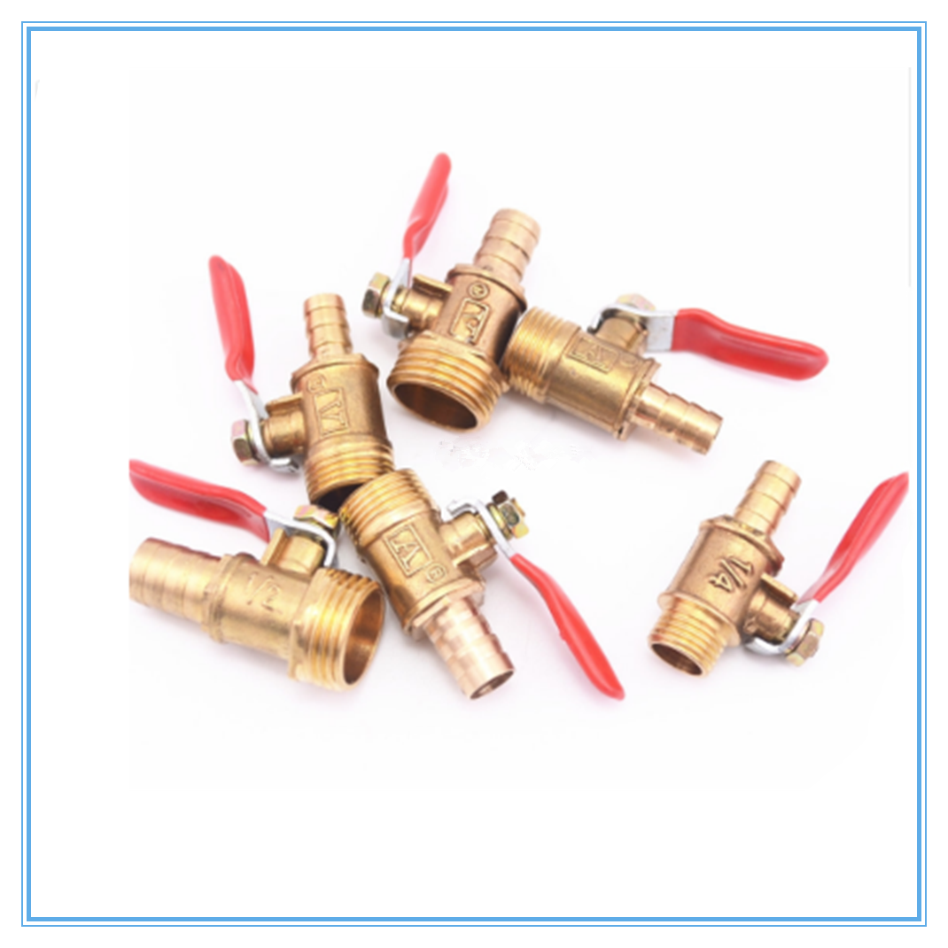 Brass Barbed ball valve 4-12 Hose Barb 1/8'' 1/2'' 1/4'' Male Thread Connector Joint Copper Pipe Fitting Coupler Adapter image
