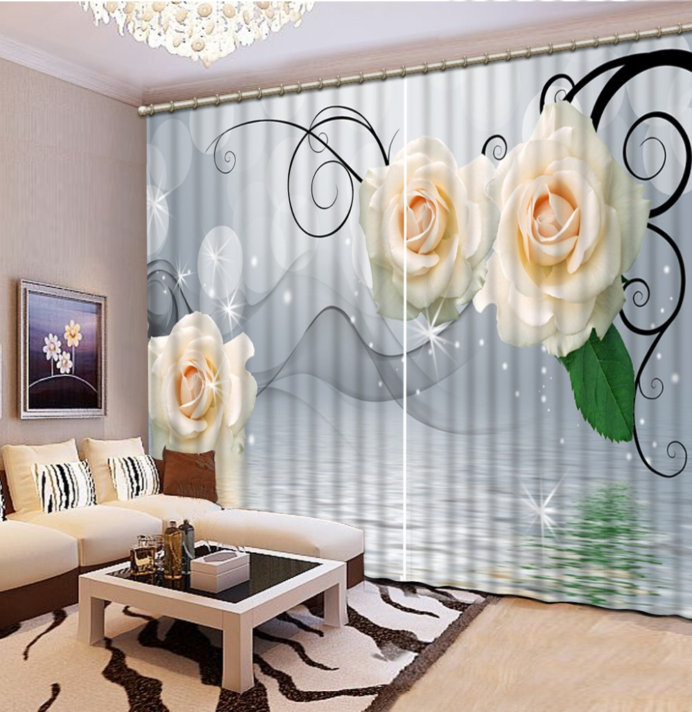 Home Decor Living Room Natural Art 3d dream white flower Curtains ...