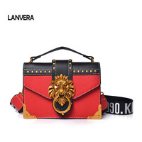 2018 New Handbag Female Luxury Lion Head Lock Handbag Women Leather Messenger Crossbody Bags Fashion Party Clutches louis gg bag