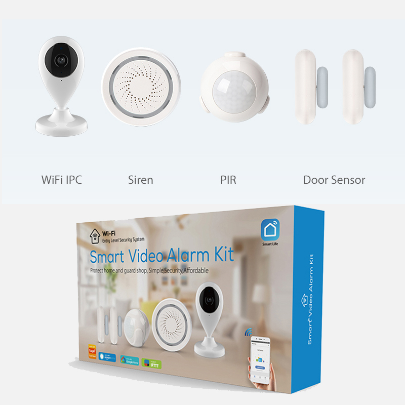NEW  Alarm Systems Security Home WIFI Smart Home Video Alarm Kit 720P Cameras 3 Sensors 1 Siren Alarm SmartLife TUYA APP Control