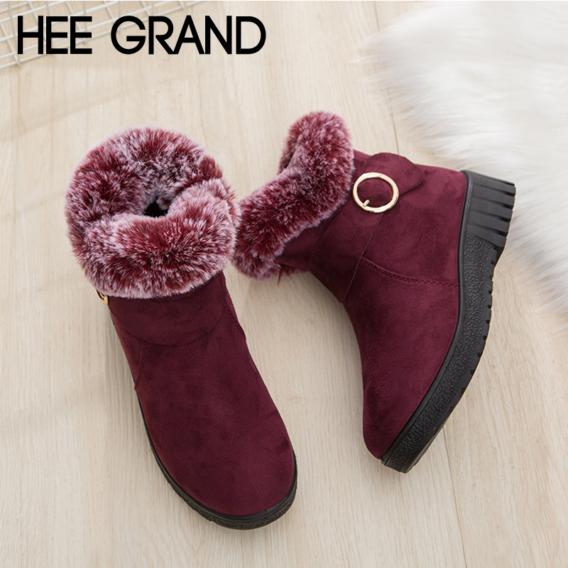 HEE GRAND Faux Fur Platform Casual Shoes Woman Winter Warm Rubber Women Ankle Boots Creepers Women Snow Boots Size 36-41 XWX6804 platform bow faux fur ankle boots