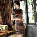 Бесплатная Доставка Дешевые Короткие Рукава Qipao Платье Китайский Традиционный Одежда Короткие Чонг-сэм Платье Для женщин Короткие Китай платье