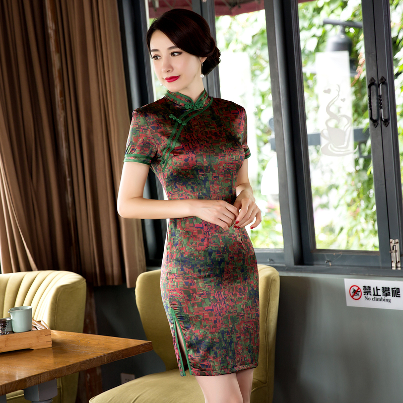 236fd1f440155 Free Shipping Cheap Short Sleeve Qipao Dress Chinese Traditional ...