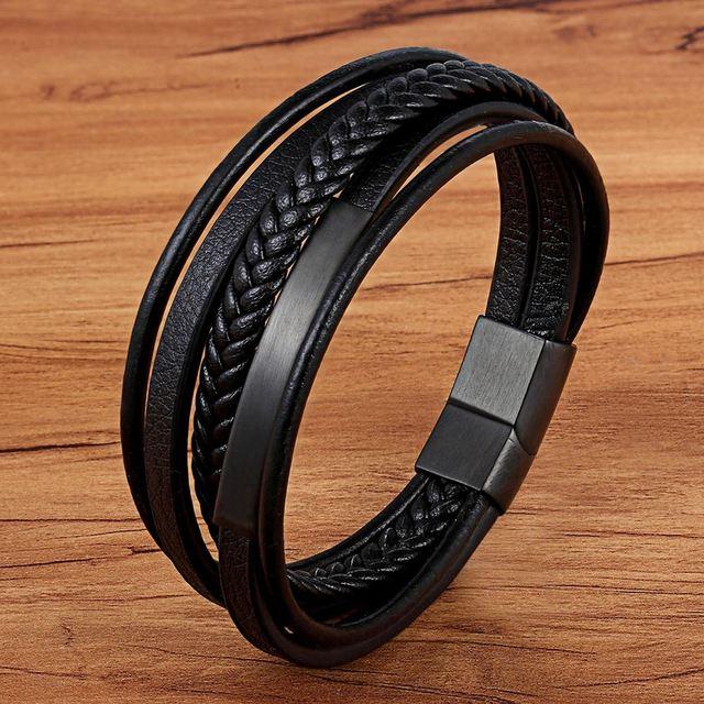 Handmade Genuine Leather Magnet Bracelet for Men