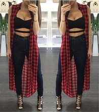 Women Sexy Sleeveless Split Loose Causal Long Maxi Cardigan Shirt Plaid Turtleneck Slim Asymmetrical Tank Shirt Hot Tops Blouses