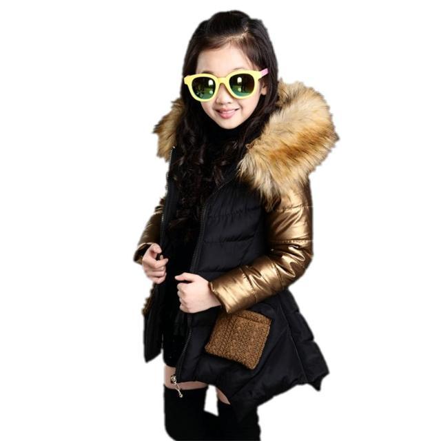 2017 Nova Moda Crianças Jaqueta de Inverno de Espessura Quente Para Baixo Casaco Para A Menina Hiver Manteau Fille 4-13Y Encapuzados Meninas Casaco de Inverno