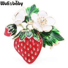Wuli & baby Trendy Red Strawberry Enamel Spille per uomo Classic Fruits per donna Matrimonio Banchetto Spilla Accessori donna