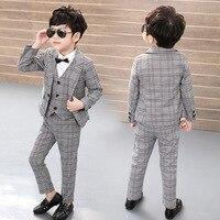 Жилет + блейзер + брюки, детские костюмы из 3 предметов для мальчиков деловой костюм Пиджаки для джентльменов костюм для свадьбы праздничная ...