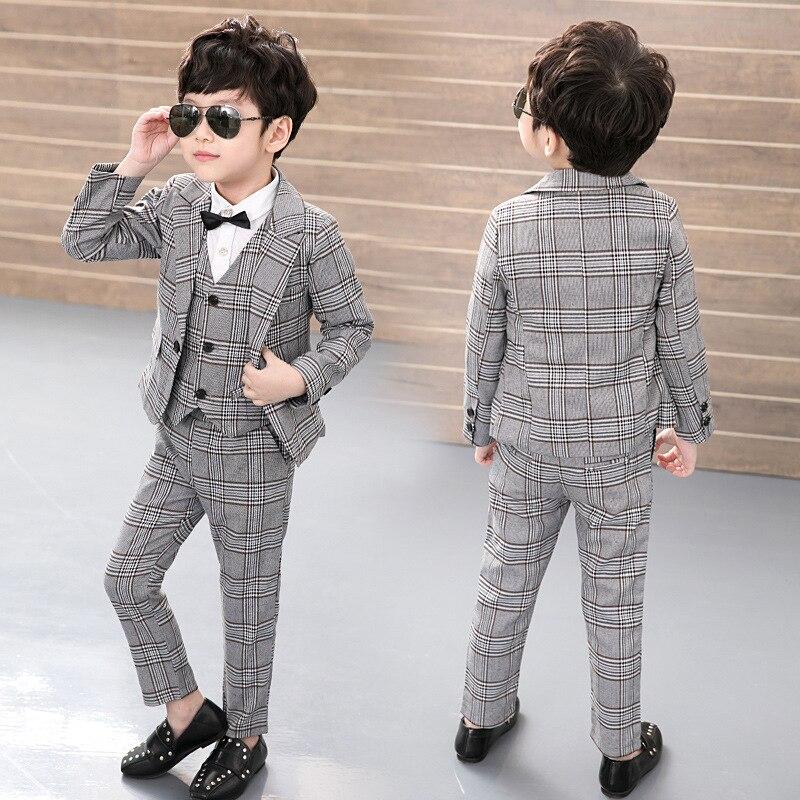 Vest + Blazer + Pants 3pcs Kids Child Boys Suits Formal Costume Gentleman Blazers Suit Wedding Suit Boy Children Party Clothing