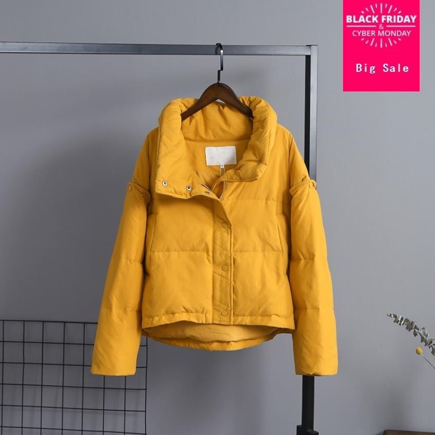 Wq589 Estilo Gran Salida Pan Verdadero Abajo Grueso Pato Desmontable Manga Fábrica Abrigo Tamaño Diseño Yellow pink De Mujer IwZFqwgp