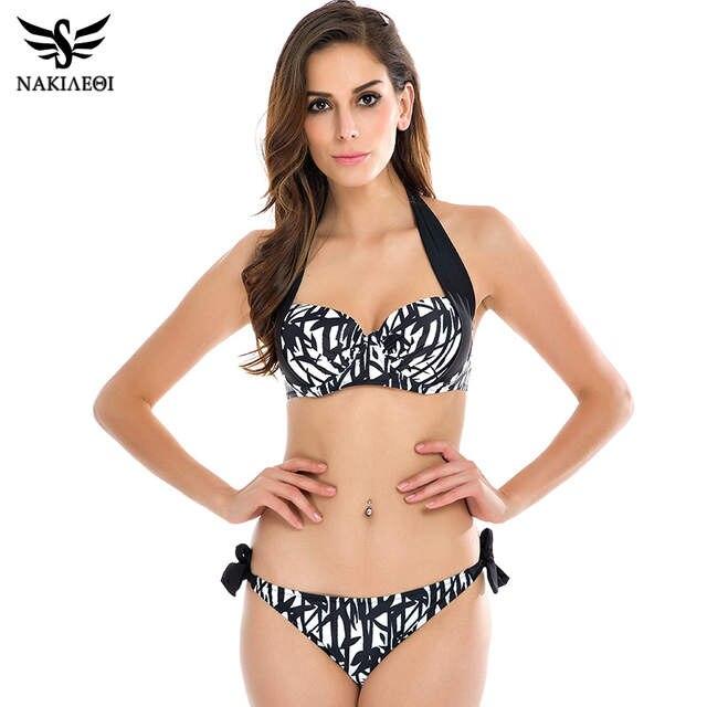 3656205581d28 NAKIAEOI 2018 New Sexy Bikinis Women Swimsuit Push Up Bikini Set Bathing  Suits Halter Summer Beach