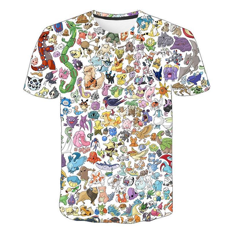 Children Tee Tops Pikachu T-Shirt Pokemon Short-Sleeve Fashion Summer Streetwear 3d-Printed