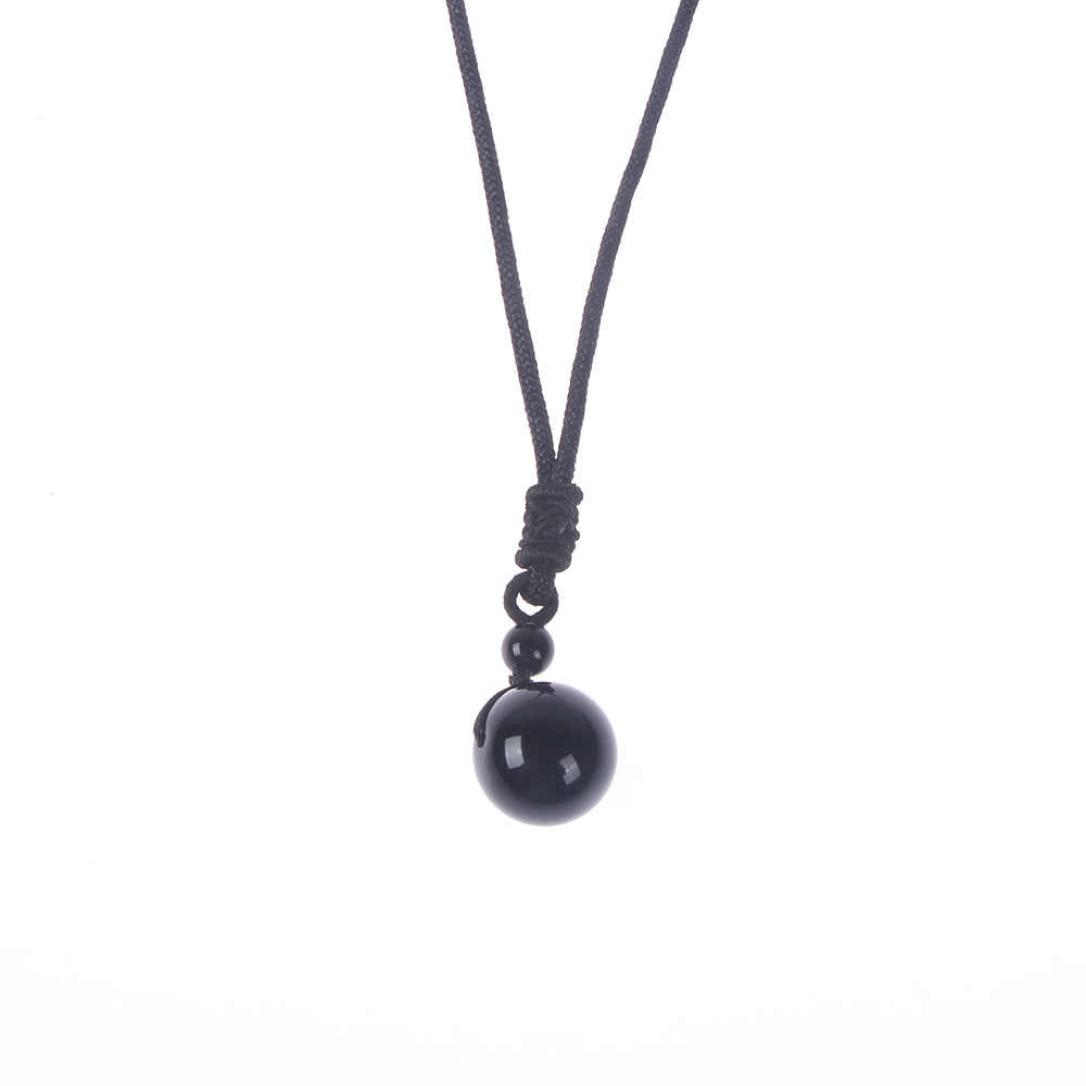 Natural Stone Black Obsidian Rainbow Eye Beads Ball Pendant Transfer Lucky Love necklaces pendants christmas gift drop shipping