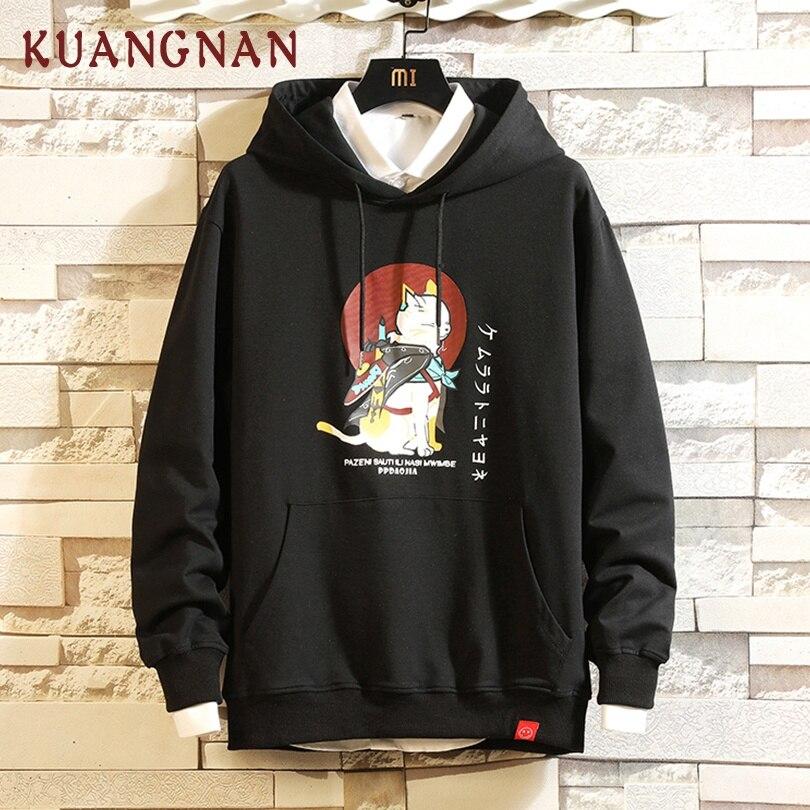 KUANGNAN Japan Style Cat Printed Hoodies Men Harajuku Japanese Streetwear Hoodie Men Sweatshirt Hip Hop Black Mens Hoodies 2019
