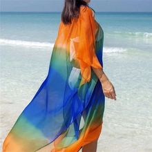 купить Women Sexy Chiffon Bikini Cover Up Elegant Tassel V Neck Short Sleeve Bathing Suit Swimsuit Swimwear Beach Dress дешево