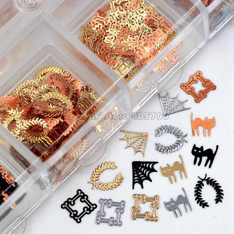 ミックス3色4形状ハロウィン猫spide web金属スパンコールネイルアートラインストーンスライスデコレーションdiyサロン先端