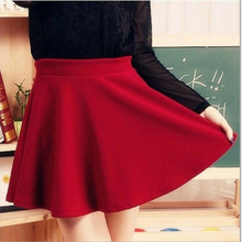 Elastic Waist Mini Skirt Pleated Swing Short Dress Stretch High Waist Plain Party Clubwear stretch knit swing skirt