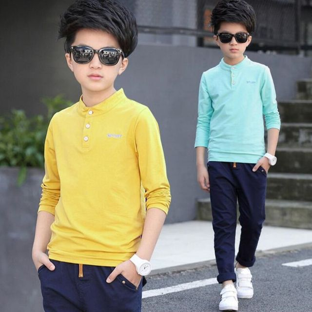 d872802e4 New Fashion Casual Spring Autumn Teenage Pure Color T Shirt Boy Kid ...