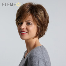 ELEMENT Synthetic 6 inch Pixie Cut Hair Wig for Women Dark Brown Color Left Side