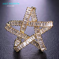 MECHOSEN Luxury Zircon Five Stars Broches For Women Men Gold Plated Copper Christmas Brooches Lapel Pins Scarf Hat Decorations