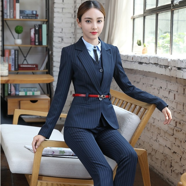 Fashion Striped Dark Blue Formal OL Styles Jackets And Pants Fall Winter  Professional Business Women Pants Suits Blazers Sets e181f37e2