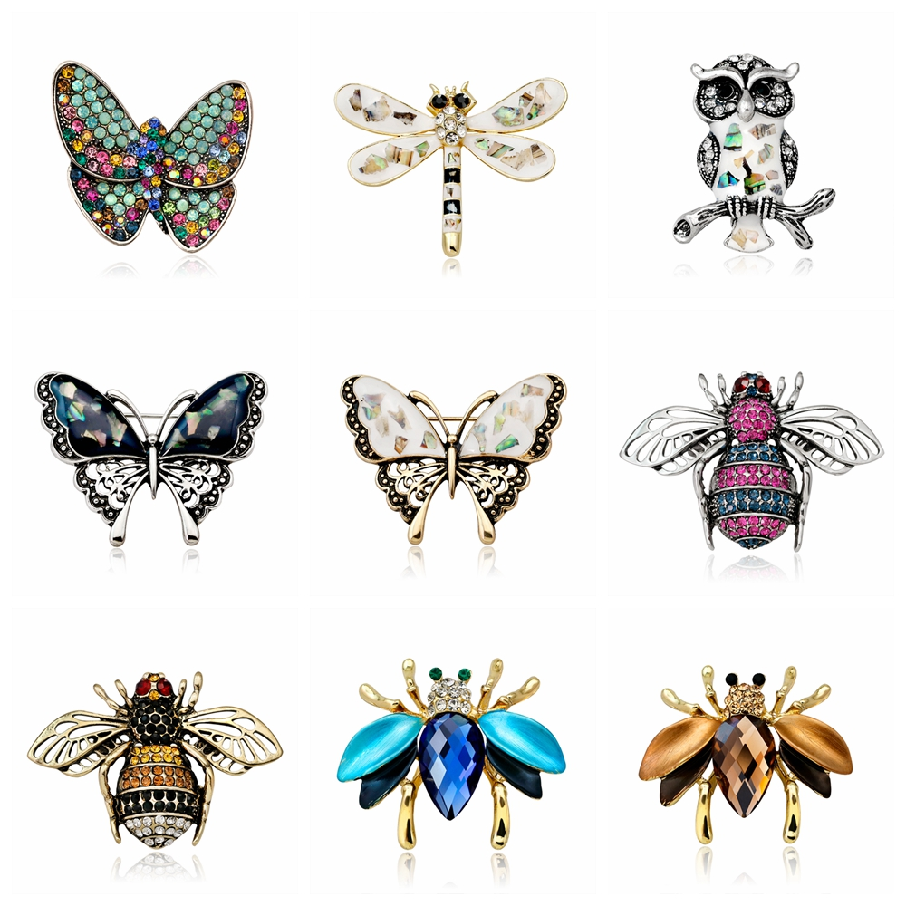 Rinhoo animals Brooch Butterfly owl dragonfly bee insect Brooches For women dress Costume jewelry accessories