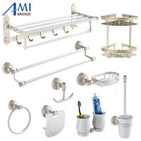 Ivory White&Gold Carved Aluminum Bathroom Fixture Bath Hardware Shelf Towel Bar Soap Network Cloth Hook WG1002 Series