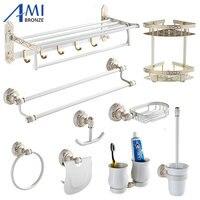 Ivory White&Gold Carved Aluminum Bathroom Fixture Bath Hardware Shelf Towel Bar Soap Network Cloth Hook WG1002 Series