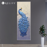 Home Decor Resin Peacock Wall Art Acrylic Oil Painting for Living Room Decorative Panels
