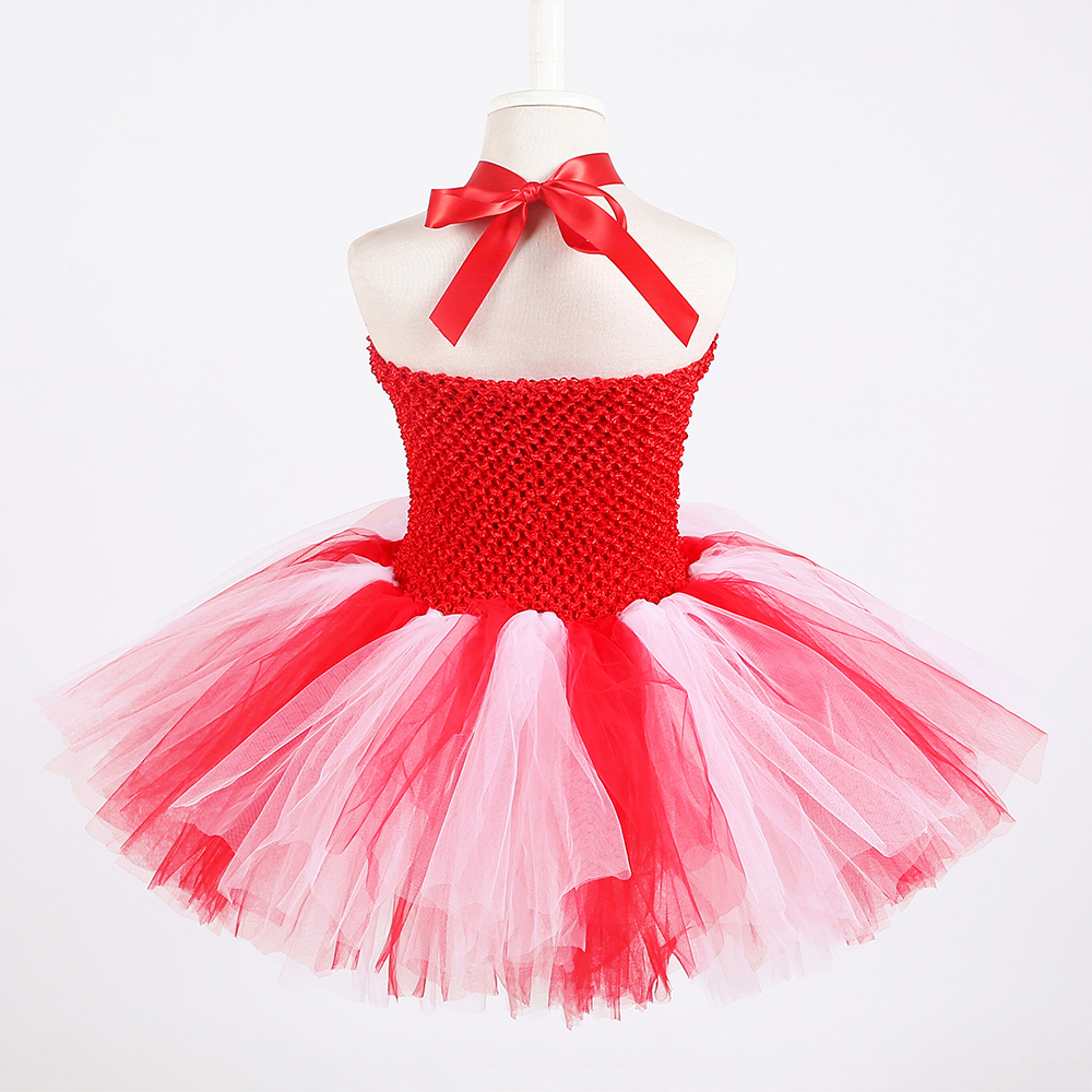 Red White Queen of Hearts Fancy Dress Costume Valentine\`s Day Knee Length Heart Pattern Tutu Dress Princess Dress for Girls 1-14 (4)