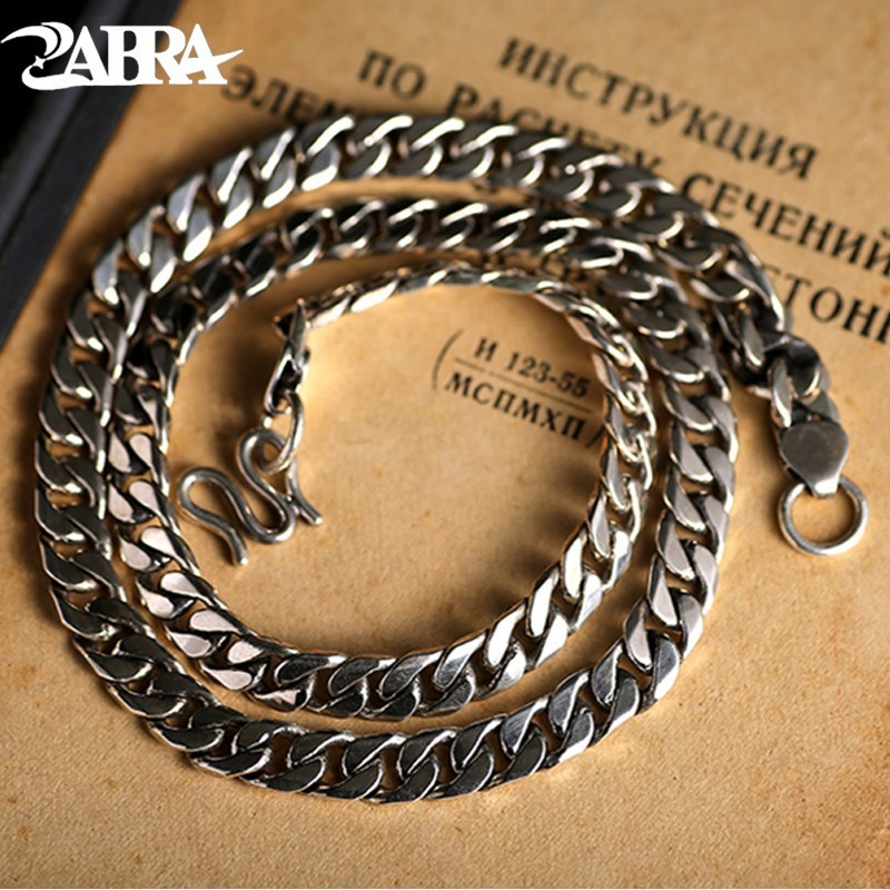 ZABRA Luxury 925 Sterling Silver 7 5mm 55cm Horse Chains For Men Necklace Vintage Thai Silver