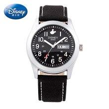 Disney бренда Микки детские часы мужская 30 м водонепроницаемый кварцевые часы Ретро холст кожа дети часы Календарь