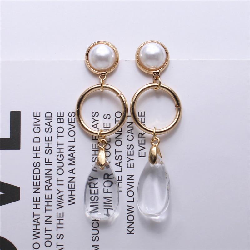 Transparent water drop long earrings