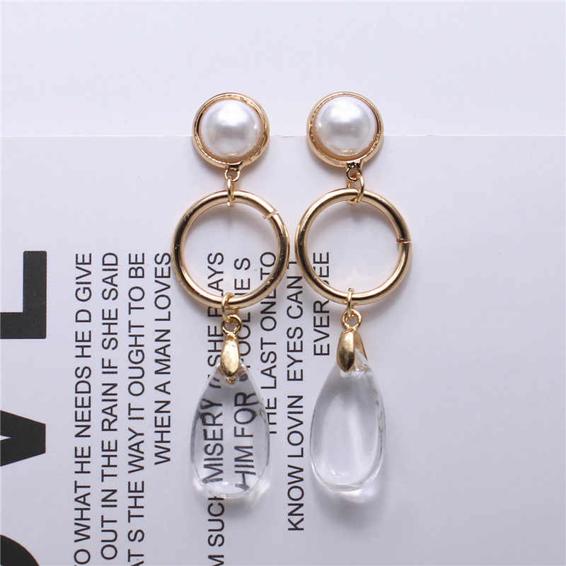 2018 fashion jewelry personality style Imitation pearl  Transparent water drop long earrings for women
