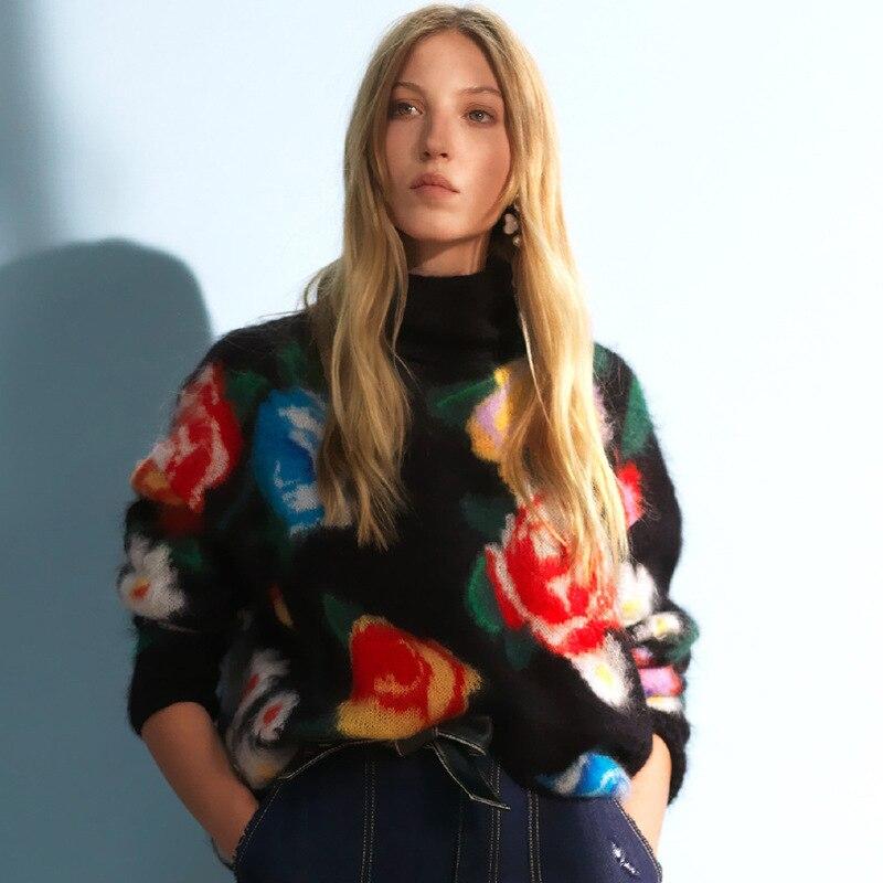 Undertakes Woolen Rose Flower Turtleneck Sweater Women Korean Style Pull Fem Me 2019 Autumn Winter Knitwear Pull Over Plus Size