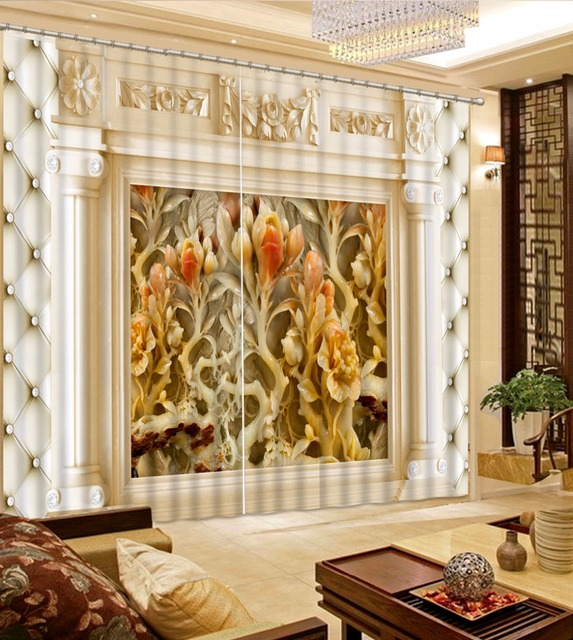 European Jade Carved Flowers Luxury Home Decor Curtains For Living Room Kitchen Bedroom Window
