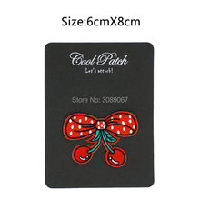 Red BOW & CHERRYS iron sticker patch for clothing Emo Goth Punk Rockabilly Biker Vest Badge Wholesale Customized patch available(China)