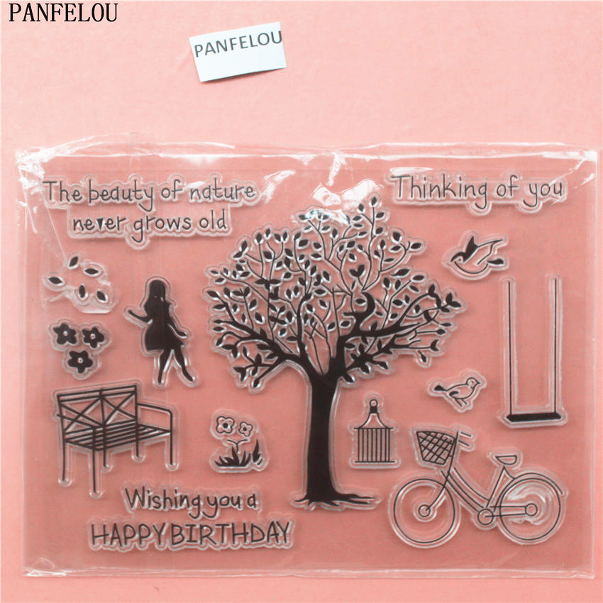 PANFELOU The tree Transparent Clear Silicone Stamp/Seal DIY scrapbooking/photo album Decorative clear stamp sheets lovely animals and ballon design transparent clear silicone stamp for diy scrapbooking photo album clear stamp cl 278