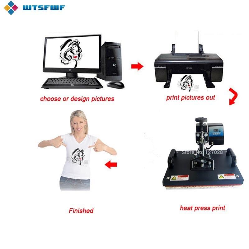 Freeshipping Wtsfwf 30*38CM 8 in 1 Combo Heat Press Machine 2D Thermal Transfer Printer for Cap Mug Plate T shirts Printing - 4