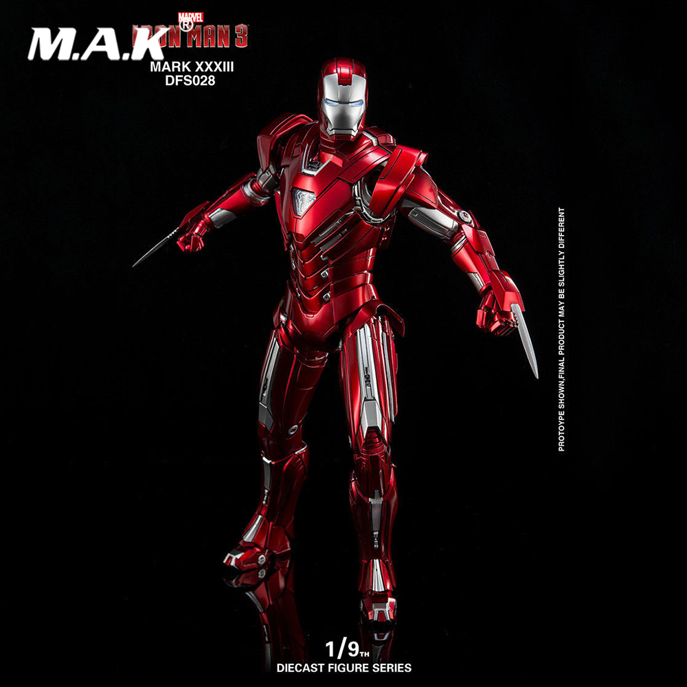 Collectible King Arts DFS028 Diecast Mark33 Iron Man 3 MARK XXXIII Silver Centurion Figure 1/9 Scale Action Figure for Fans Gift