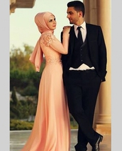 Dubai Arabic Style Muslim Islamic hijab Muslim Evening Dress A-Line Pink Chiffon Elegant Evening Gown 2017 Custom Made