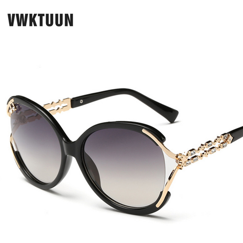 VWKTUUN Vintage Big Sunglasses Women Crystal Frame Sun Glasses Retro Oversized Glasses Female Eyewear Brand Outdoor Sport Oculos