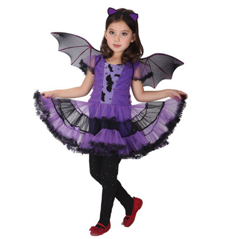 Baby Girls bat Cosplay dress Witch Clothing Dress+ headband +wing 3PCS Kids Party Vampirinas Halloween Costumes For clothes L166