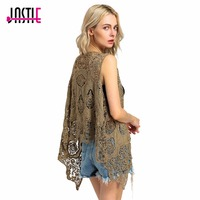 Jastie Hippie Froral Patch Conception Gilet Rétro Vintage Crochet D'été Plage Cover Up Asymétrique Ouvrir Point Kimono Z-63