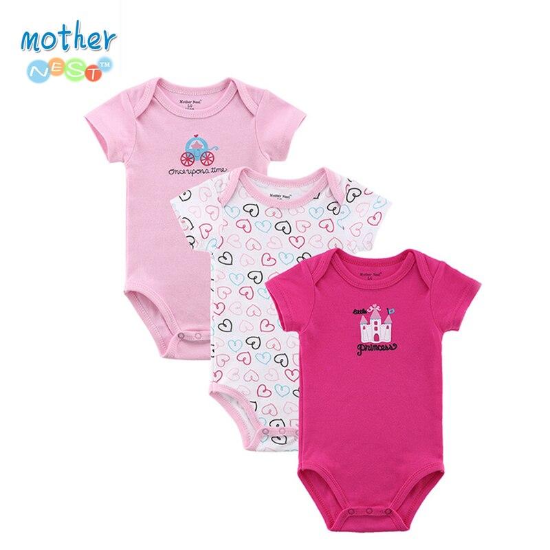 Mother Nest 3 PCS lot font b Baby b font Romper Girl Boy Short Sleeve Leopard