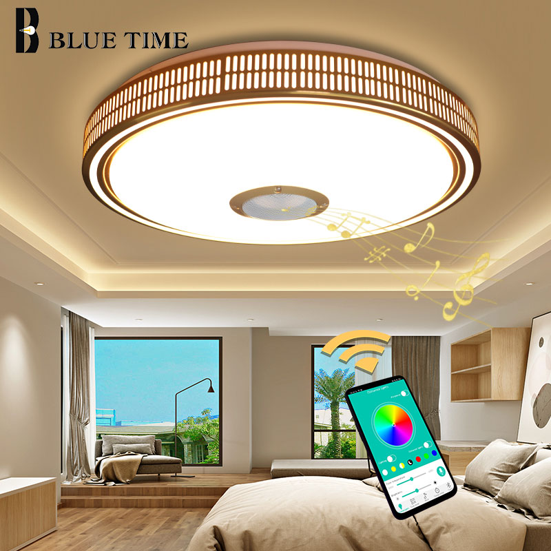 New Modern Home Fixture LED Ceiling Lights For Bedroom Living Room Dining Room Golden Body Music Playing LED Ceiling Lampss