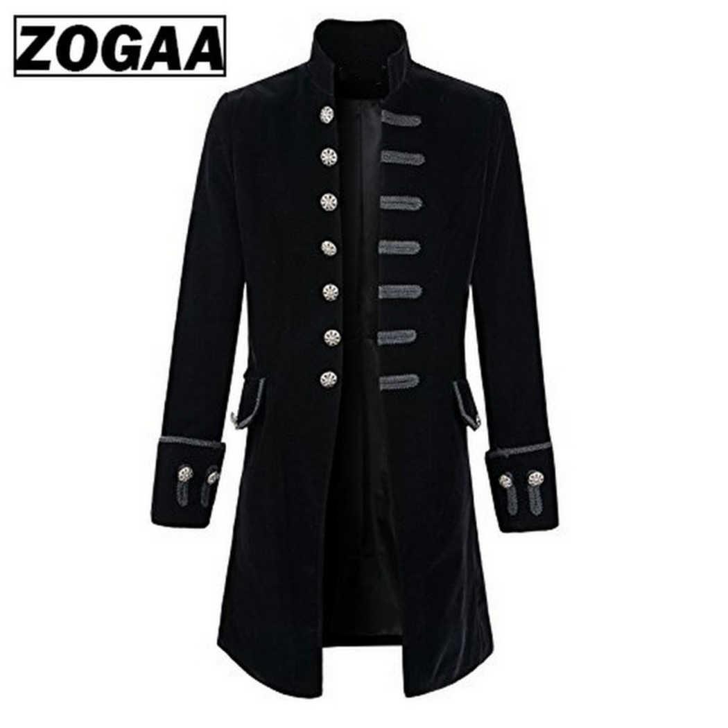 2019 סתיו חורף גברים מעיל בציר Steampunk מעייל פראק ארוך מעיל גותי כפתור תעלת מעיל זכר רטרו מגניב אחיד תלבושות