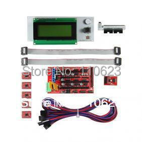 ФОТО 3D Printer start kits ramps1.4 SD card breakout 5pcs A4988 stepper driver, LCD2004 Smart Controller jumper wires