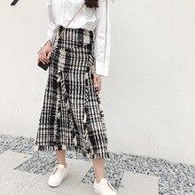 Длинная женская юбка для девушек, тонкая твидовая юбка в клетку, Длинная вязаная Асимметричная длинная юбка qiu dong, восстанавливающая старину модель 2018